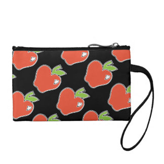 Red Apple with Green Leaves Clutch Change Purses
