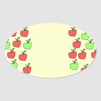 Red Apples and Green Apples, Pattern, on Cream. Oval Sticker