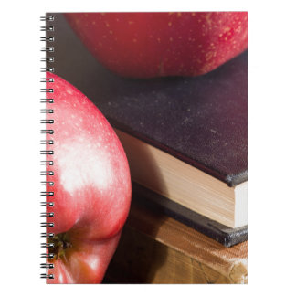 Red apples and old vintage book note book
