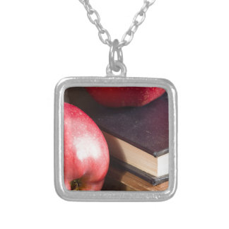 Red apples and old vintage book silver plated necklace