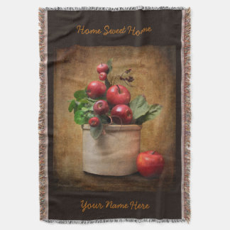 Red Apples Crock Still Life Throw Blanket