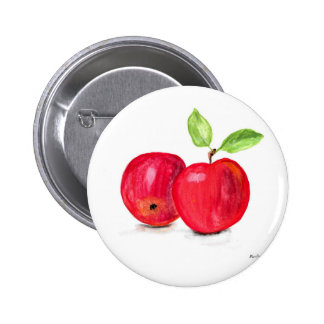 Red apples fruity painting gardener gift 2 inch round button