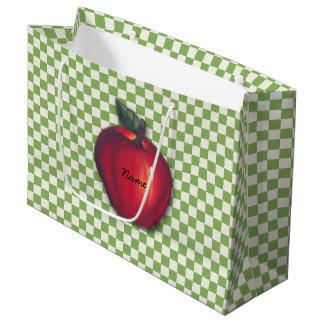 Red  Apples Green Checks Large Gift Bag
