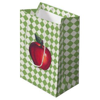 Red  Apples Green Checks Medium Gift Bag