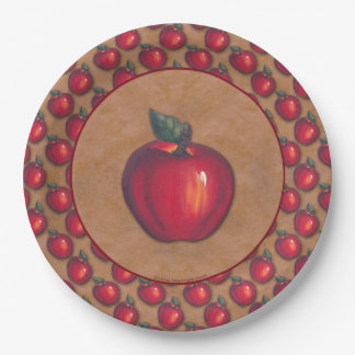Red Apples on Brown Border Paper Plate