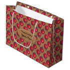 Red Apples on Brown Paper Label Large Gift Bag