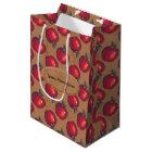 Red Apples on Brown Paper Medium Gift Bag