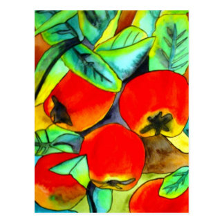 Red Apples watercolor original art painting Postcard