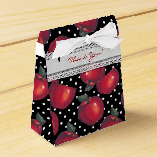 Red Apples White on Black Polka Dots Wedding Favor Box