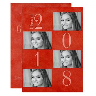 "Red & Apricot Grad Card 5"" x 7"""