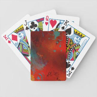 Red, Aqua & Gold Grunge Abstract Art Bicycle Playing Cards