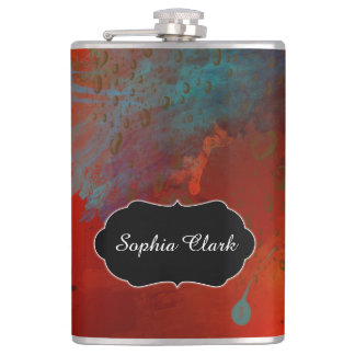 Red, Aqua & Gold Grunge Abstract Art, Personalized Flasks