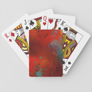 Red, Aqua & Gold Grunge Abstract Art Playing Cards