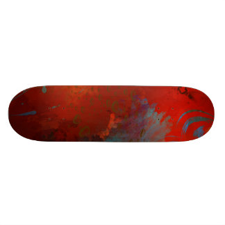 Red, Aqua & Gold Grunge Abstract Art Skateboard
