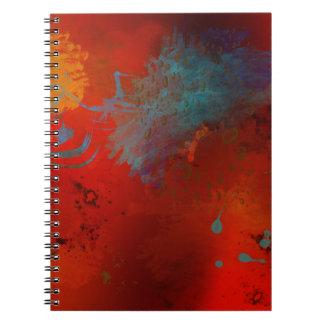 Red, Aqua & Gold Grunge Abstract Art Spiral Notebook