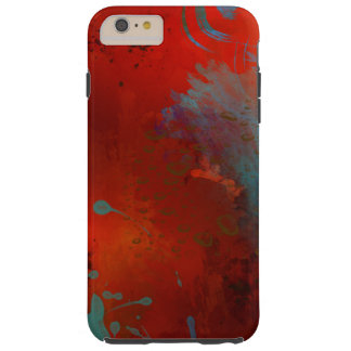 Red, Aqua & Gold Grunge Abstract Art Tough iPhone 6 Plus Case