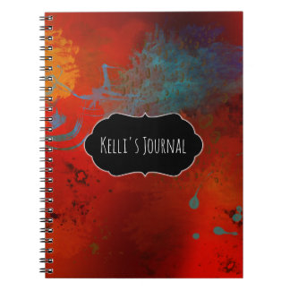 Red, Aqua & Gold Grunge Abstract Personalized Spiral Notebook