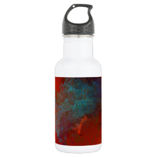 Red, Aqua & Gold Grunge Digital Abstract Art 532 Ml Water Bottle
