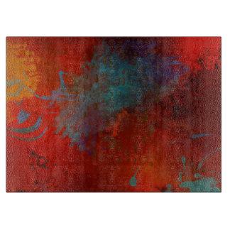Red, Aqua & Gold Grunge Digital Abstract Art Boards
