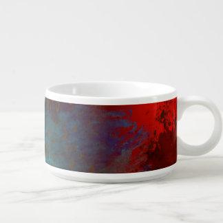 Red, Aqua & Gold Grunge Digital Abstract Art Bowl