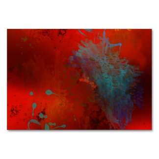 Red, Aqua & Gold Grunge Digital Abstract Art Card