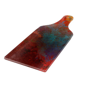 Red, Aqua & Gold Grunge Digital Abstract Art Cutting Board