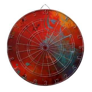 Red, Aqua & Gold Grunge Digital Abstract Art Dartboard