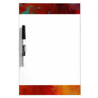 Red, Aqua & Gold Grunge Digital Abstract Art Dry Erase Board