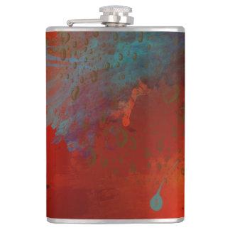 Red, Aqua & Gold Grunge Digital Abstract Art Flask