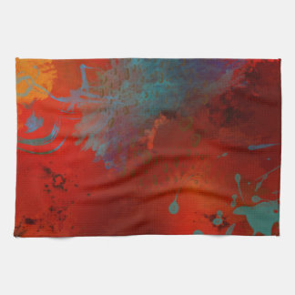 Red, Aqua & Gold Grunge Digital Abstract Art Kitchen Towel