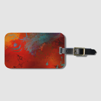 Red, Aqua & Gold Grunge Digital Abstract Art Luggage Tag