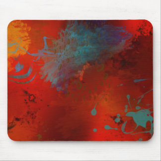 Red, Aqua & Gold Grunge Digital Abstract Art Mouse Pad