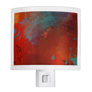Red, Aqua & Gold Grunge Digital Abstract Art Nite Light