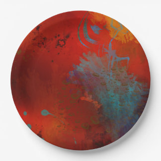 Red, Aqua & Gold Grunge Digital Abstract Art Paper Plate