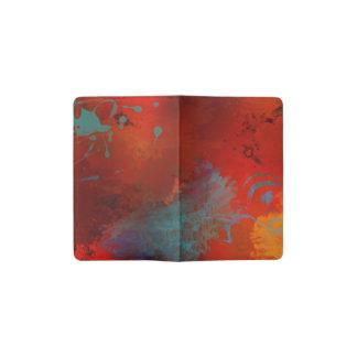 Red, Aqua & Gold Grunge Digital Abstract Art Pocket Moleskine Notebook