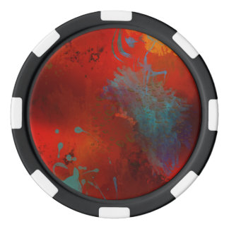 Red, Aqua & Gold Grunge Digital Abstract Art Poker Chips