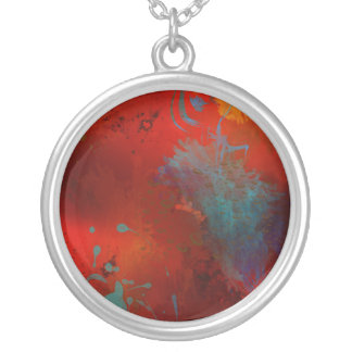 Red, Aqua & Gold Grunge Digital Abstract Art Silver Plated Necklace