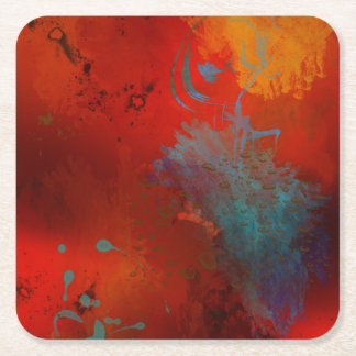 Red, Aqua & Gold Grunge Digital Abstract Art Square Paper Coaster
