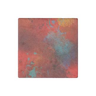 Red, Aqua & Gold Grunge Digital Abstract Art Stone Magnets