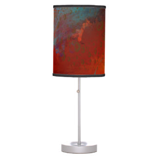 Red, Aqua & Gold Grunge Digital Abstract Art Table Lamp
