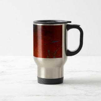 Red, Aqua & Gold Grunge Digital Abstract Art Travel Mug
