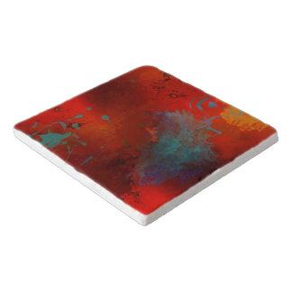 Red, Aqua & Gold Grunge Digital Abstract Art Trivet