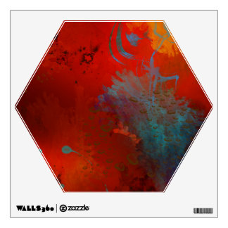 Red, Aqua & Gold Grunge Digital Abstract Art Wall Decal