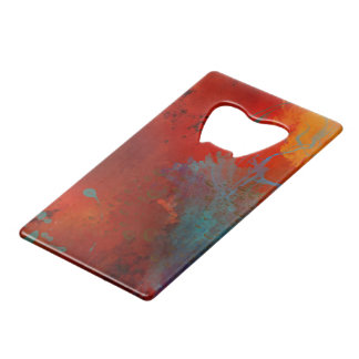 Red, Aqua & Gold Grunge Digital Abstract Art Wallet Bottle Opener