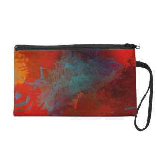 Red, Aqua & Gold Grunge Digital Abstract Art Wristlet