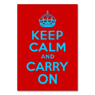 Red Aqua Keep Calm and Carry On Card