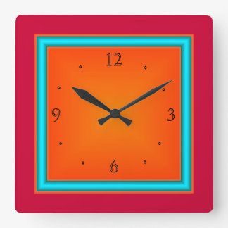 Red/Aqua/Orange>Wall Clock