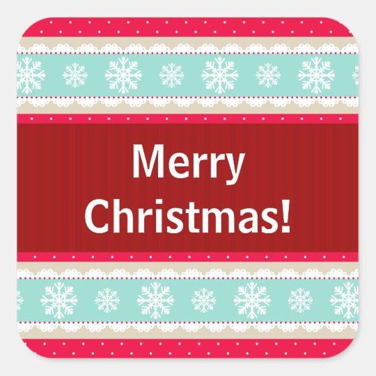 Red Aqua Striped Christmas Pattern Custom Text Square Sticker
