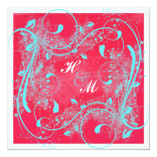 "Red, Aqua, White Swirls Wedding Invitation 5.25"" Square Invitation Card"