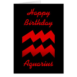 Red Aquarius Glyph Birthday Card